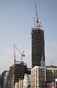 Broadgate tower, 201 Bishopsgate, under construction, April 2007, from Shoreditch High Street, London, England