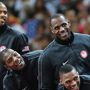Tyler Chandler, Kevin Durant, Lebron James and Russell Westbrook USA, joke on the podium after their victory in the Men's Basketball Final between USA and Spain at the North Greenwich Arena during the London 2012 Olympic games. London, UK. 12th August 2012. Photo Tim Clayton