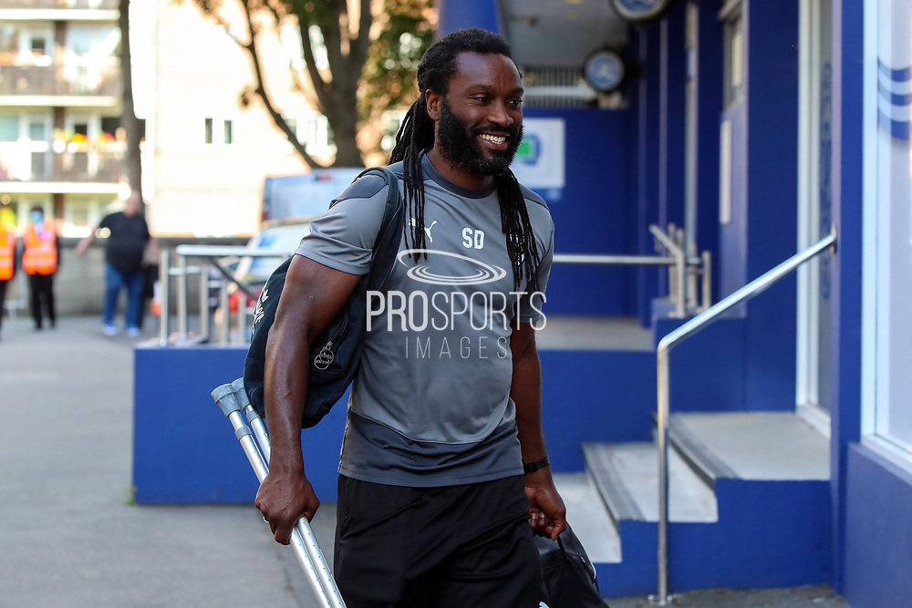 AFC Wimbledon physiotherapist Stuart Douglas arriving for the game during the EFL Trophy Group O match between AFC Wimbledon and Charlton Athletic at the Kiyan Prince Foundation Stadium, London, England on 1 September 2020.