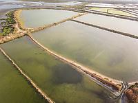 Aerial view of salt marsh in Algarve, Portugal.