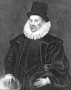 William Gilbert (1540-1603) English physician and scientist born at Colchester, Essex. Appointed physician to Elizabeth I (1601). Carried out experiments on electricity and magnetism and was the first person to use the terms electric, electric attraction and magnetic pole. Published his 'De Magnete ...' ('On the Magnet...') (London, 1600) Engraving.