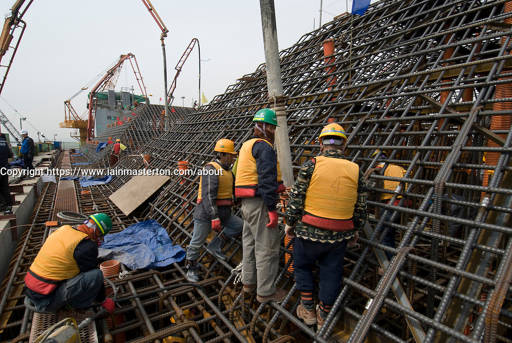 Construction of large pilecaps for main pylons of Incheon Bridge in Seoul South Korea