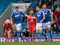 Chesterfield's Dion Donohue congratulates Jay O'Shea (right) ,after his cross led to Walsall's James O'Connor scoring an own goal, which gave them a 1-0 lead<br /> <br /> Photographer David Shipman/CameraSport<br /> <br /> Football - The Football League Sky Bet League One - Chesterfield v Walsall - Saturday 12th March 2016 - Proact Stadium - Chesterfield    <br /> <br /> © CameraSport - 43 Linden Ave. Countesthorpe. Leicester. England. LE8 5PG - Tel: +44 (0) 116 277 4147 - admin@camerasport.com - www.camerasport.com