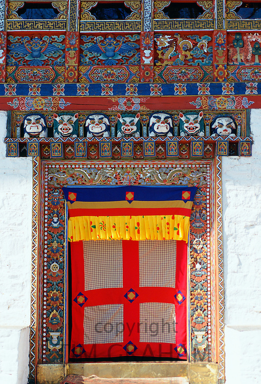 Decorated and decorative doorway, Ugyen Pelri Palace, Paro, Bhutan