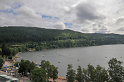 Elevated view of Titisee Neustadt, (Black forest Schwarzwald), Baden-Württemberg, Germany as seen from the Ferris Wheel