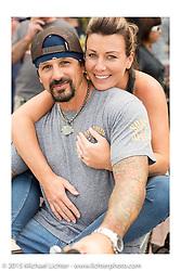 Custom bike builder Billy Lane with his wife Erin on Main Street during the 2015 Biketoberfest Rally. Daytona Beach, FL, USA. October 16, 2015.  Photography ©2015 Michael Lichter.