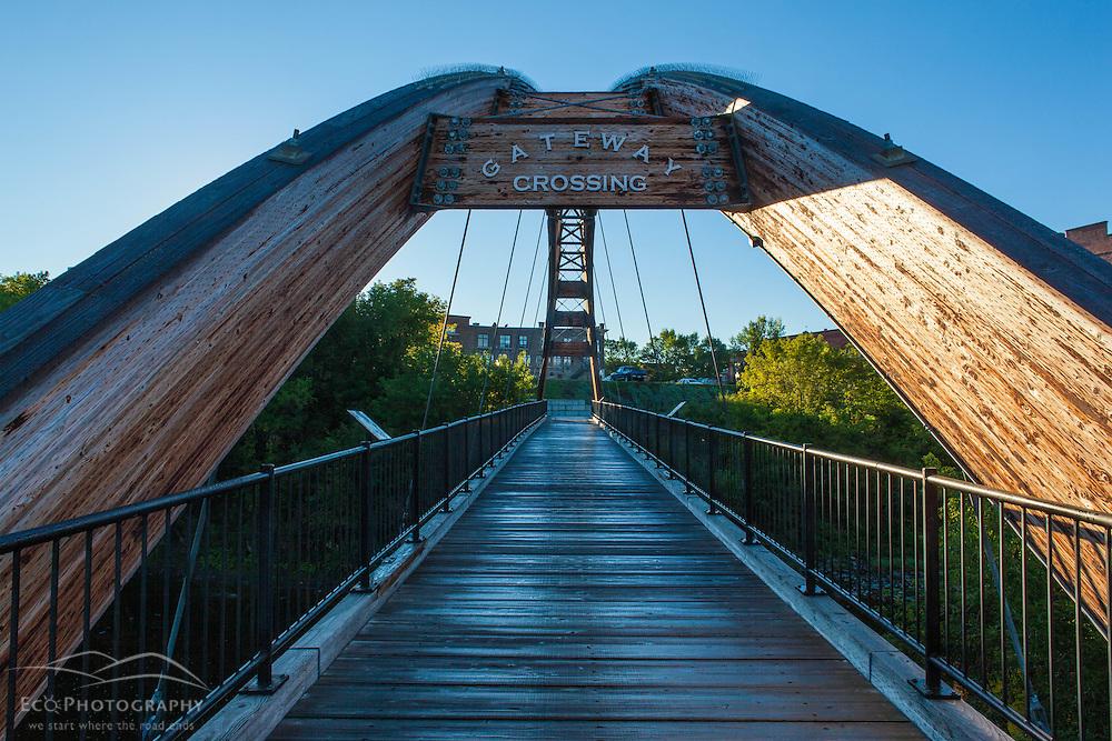 Gateway Crossing pedestrian bridge spans the Meduxnekeag River in Houlton, Maine.