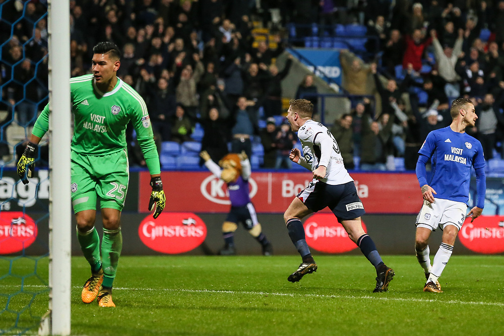 Bolton Wanderers' Josh Vela celebrates scoring his side's second goal <br /> <br /> Photographer Andrew Kearns/CameraSport<br /> <br /> The EFL Sky Bet Championship - Bolton Wanderers v Cardiff City - Saturday 23rd December 2017 - Macron Stadium - Bolton<br /> <br /> World Copyright © 2017 CameraSport. All rights reserved. 43 Linden Ave. Countesthorpe. Leicester. England. LE8 5PG - Tel: +44 (0) 116 277 4147 - admin@camerasport.com - www.camerasport.com