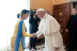 NO FRANCE - NO SWITZERLAND: May 4, 2017 : State Counsellor and Union Minister for Foreign Affairs of the Republic of the Union of Myanmar Aung San Suu Kyi, meets with Pope Francis on the occasion of their private audience, at the Vatican.