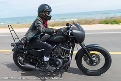 Leticia Cline from the Iron Lillies riding Highway A1A along the coast during Daytona Bike Week 75th Anniversary event. FL, USA. Thursday March 3, 2016.  Photography ©2016 Michael Lichter.