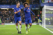 GOAL - Chelsea Midfielder Willian celebrates penalty 1-0 with Chelsea Defender Cesar Azpilicueta during the The FA Cup fourth round match between Chelsea and Sheffield Wednesday at Stamford Bridge, London, England on 27 January 2019.