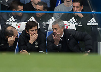 Football - 2016/2017 Premier League - Chelsea V Manchester United<br /> <br /> Manchester United Manager Jose Mourinho gives his opinion to his assistants seated on the bench at Stamford Bridge.<br /> <br /> COLORSPORT/DANIEL BEARHAM