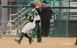 30 March 2013:  Audra James during an NCAA Division III women's softball game between the DePauw Tigers and the Illinois Wesleyan Titans in Bloomington IL
