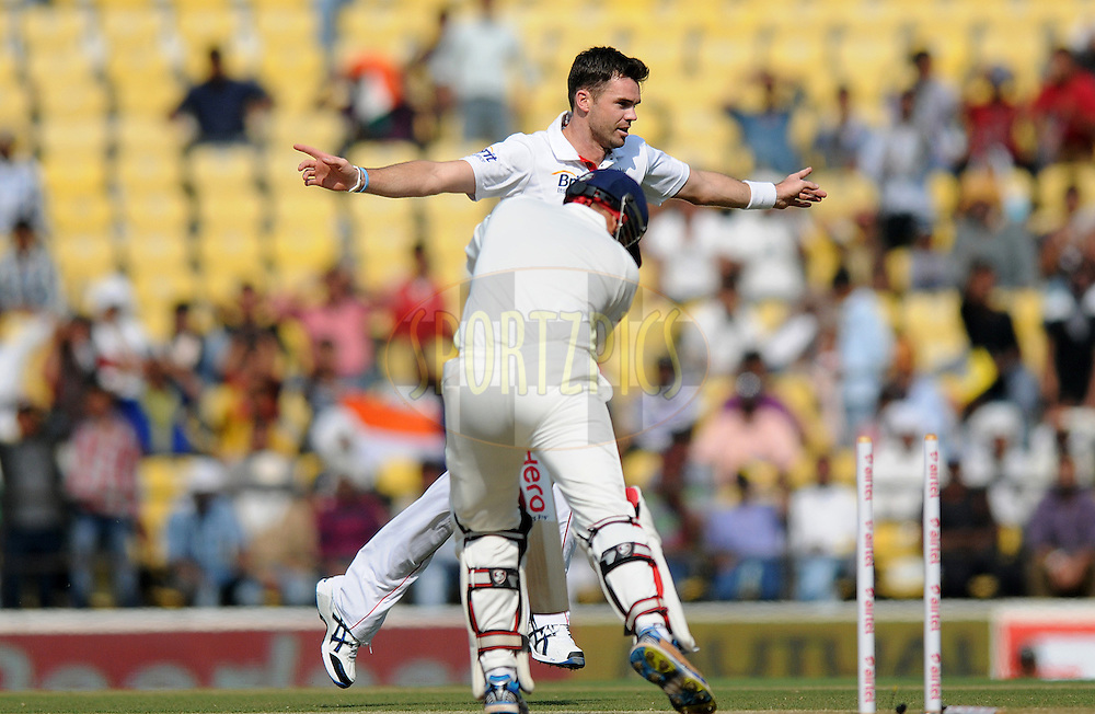 James Anderson of England celebrates after getting Virender Sehwag of India   bowled out during day two of the 4th Airtel Test Match between India and England held at VCA ground in Nagpur on the 14th December 2012..Photo by  Pal Pillai/BCCI/SPORTZPICS .