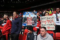 30th April 2017 - Premier League - Manchester United v Swansea City - Man Utd fans hold up banners wishing Juan Mata of Man Utd a happy birthday - Photo: Simon Stacpoole / Offside.