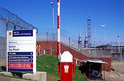 AMHK7B Security fences entrance Bacton gas plant Norfolk England