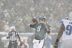 Philadelphia Eagles quarterback Nick Foles #9 throws the ball during the NFL game between the Detroit Lions and the Philadelphia Eagles on Sunday, December 8th 2013 in Philadelphia. (Photo by Brian Garfinkel)