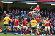 Ross Moriarty of Wales claims the ball as he is lifted by Dan Lyydiate of Wales. Under Armour 2016 series international rugby, Wales v Australia at the Principality Stadium in Cardiff , South Wales on Saturday 5th November 2016. pic by Andrew Orchard, Andrew Orchard sports photography