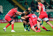 Northampton Saints prop Manny Iyogun is held up by Sale Sharks lock Cobus Wiese and  flanker Tom Curry during the Gallagher Premiership Rugby match Northampton Saints -V- Sale Sharks won by Sale 34-14 at Franklin's Gardens, Northamptonshire ,England United Kingdom, Tuesday, September 29, 2020. (Steve Flynn/Image of Sport)