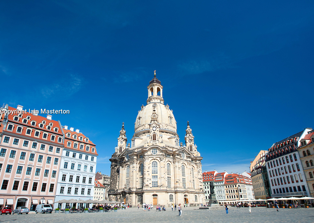 Exterior of famous Frauenkirche (Church Of Our Lady) church in    Dresden Saxony Germany