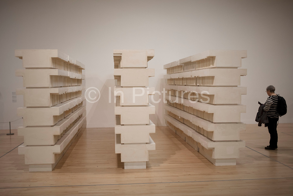 Retrospective show celebrating over 25 years of Rachel Whiteread's sculpture at Tate Britain gallery in London, England, United Kingdom. Whiteread is one of Britain's leading contemporary artists, using industrial materials such as plaster, concrete, resin, rubber and metal to cast everyday objects and architectural space. Her evocative sculptures range from the intimate to the monumental. Tate Britain is the national gallery of British art. Located in London, it is one of the family of four Tate galleries which display selections from the Tate Collection. Tate Britain is the world centre for the understanding and enjoyment of British art and works actively to promote interest in British art internationally.