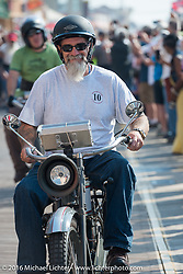 Bill Page of Kansas riding his 1915 Harley-Davidson leaves the start of the Motorcycle Cannonball Race of the Century. Stage-1 from Atlantic City, NJ to York, PA. USA. Saturday September 10, 2016. Photography ©2016 Michael Lichter.