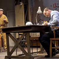 """The Lyceum present the World Premiere of Pressure<br /> By David Haig<br /> <br /> Picture shows :(l-r)<br /> Michael Mackenzie – Electrician (l)<br />  David Haig – Group Captain Dr. James Stagg (far right)<br /> <br /> <br /> Picture : Drew Farrell<br /> Tel : 07721 -735041<br /> www.drewfarrell.com<br /> Directed by John Dove<br /> A co-production with Chichester Festival Theatre<br /> June 1944. One man's decision is about to change the course of history.<br /> <br /> Cast<br /> David Haig – Group Captain Dr. James StaggLaura Rogers – Kay SummersbyRobert Jack – AndrewAnthony Bowers – Lieutenant Battersby/ Captain JohnsScott Gilmour – Young Naval RatingMalcolm Sinclair – General Dwight D """"Ike"""" EisenhowerTim Beckmann – Colonel Irving P. KrickMichael Mackenzie – Electrician/Admiral Bertram """"Bertie"""" RamsayAlister Cameron – Air Chief Marshall Sir Trafford Leigh-MalloryGilly Gilchrist – General """"Tooey"""" Spaatz/Commander Franklin<br /> Creative Team<br /> Director - John DoveDesigner - Colin RichmondLX Designer - Tim MitchellDeputy LX Designer - Guy JonesComposer/Sound Design - Philip PinskyVideo Designer - Andrzej Goulding<br /> An intense real-life thriller centred around the most important weather forecast in the history of warfare.Scottish meteorologist, Group Captain James Stagg, the son of a Dalkeith plumber, must advise General Eisenhower on when to give the order to send thousands of waiting troops across the Channel in Operation Overlord.In what became the most volatile period in the British Isles for over 100 years, the future of Britain, Europe and our relationship with the United States, rested on the shoulders of one reluctant Scotsman.<br /> Pressure is the extraordinary and little known story of a Scot who changed the course of war, and our lives, forever.David Haig is a four time nominee and Olivier Award winning actor best known for his roles in the film Four Weddings and a Funeral , TV series The Thin Blue Line and stage production The Madness of King """