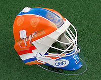 LAREN - Keeper van Oranje,  Joyce Sombroek, met nieuwe helm, helemaal klaar voor het WK  2014 in Den Haag. COPYRIGHT KOEN SUYK