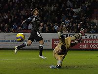 Photo: Olly Greenwood.<br />Charlton Athletic v Manchester City. The Barclays Premiership. 04/11/2006. Manchester City's Bernado Corradi  see's his effort go past Charlton's Scott Carson