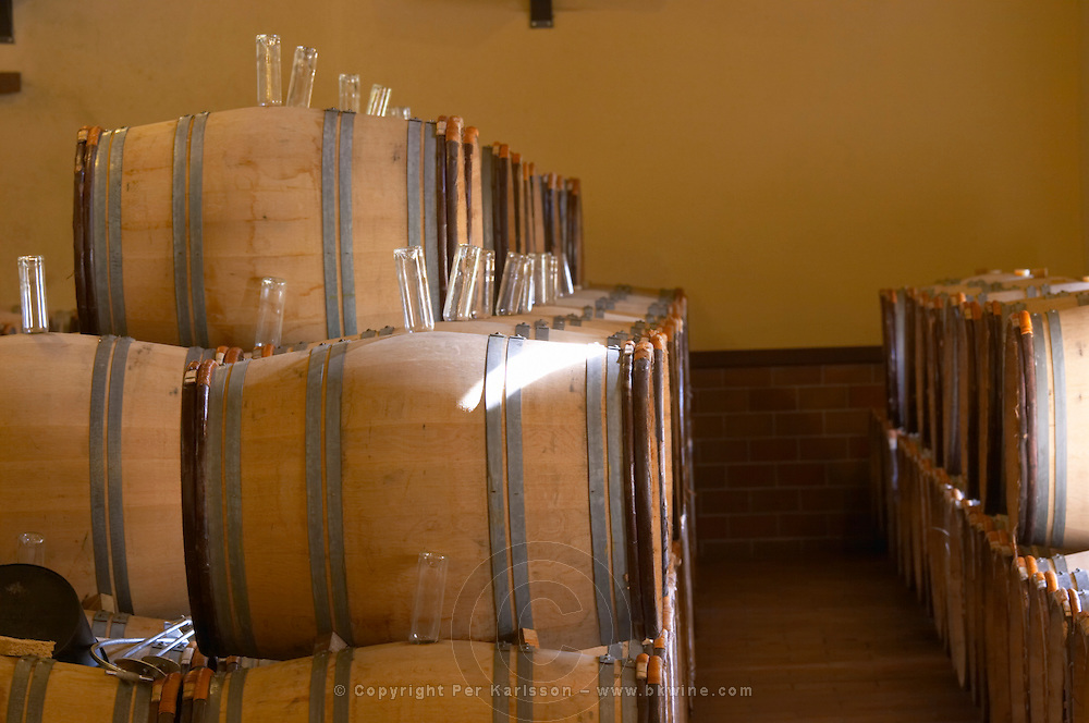 barrels with fermenting wine stoppered with upturned bottles to collect dirt chateau guiraud sauternes bordeaux france