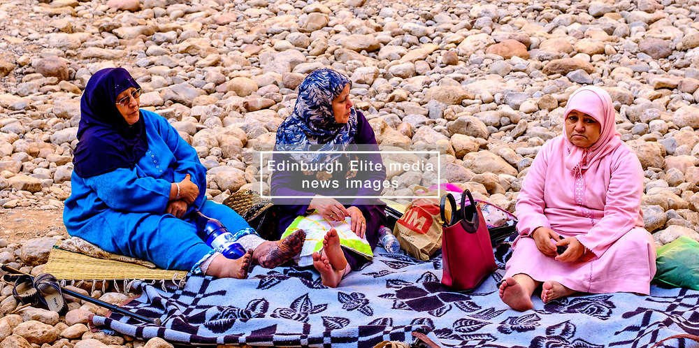 Sunday picnic by the River Todra in the Todra Gorge, Morocco<br /> <br /> (c) Andrew Wilson | Edinburgh Elite media