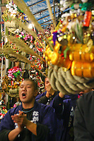 Shrines throng with buzzing crowds, the air punctuated by rhythmic clapping and the shouts of vendors and patrons. It's an atmosphere utterly traditional. Ornate charms, called Kumade, are sold at shrine market stalls to customers eager to ensure good health, good fortune and good business in the coming year.  These Tori-no-ichi markets are held every November.