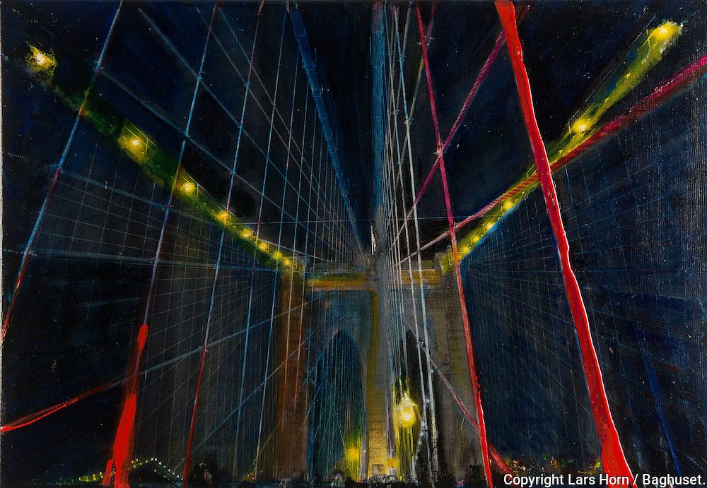 NYC in Colors.  Horn/Andersen<br /> Lights over Brooklyn Bridge 1    45x65Kr.     3.000,-<br /> Foto: © Lars Horn / Baghuset<br /> Date : 15.07.13