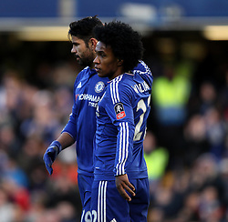 Diego Costa of Chelsea celebrates scoring his opening goal against Scunthorpe United with Willian of Chelsea - Mandatory byline: Robbie Stephenson/JMP - 10/01/2016 - FOOTBALL - Stamford Bridge - London, England - Chelsea v Scunthrope United - FA Cup Third Round