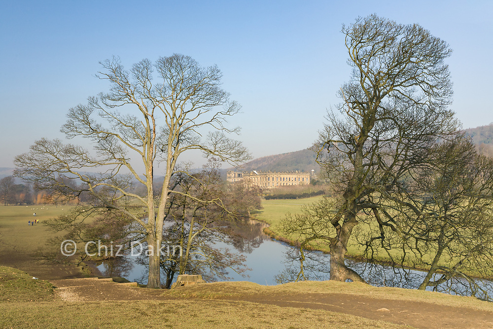 Chatsworth House and River Derwent in early Spring, Peak District National Park