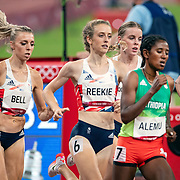 TOKYO, JAPAN August 3:   Alexandra Bell of Great Britain, <br /> Jemma Reekie of Great Britain and Keely Hodgkinson of Great Britain in action in the Women's 800m Final at the Olympic Stadium during the Tokyo 2020 Summer Olympic Games on August 3rd, 2021 in Tokyo, Japan. (Photo by Tim Clayton/Corbis via Getty Images)