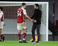 Football - 2020 / 2021 Premier League - Arsenal v Chelsea - Emirates Stadium<br /> <br /> Arsenal manager, Mikkel Arteta celebrates with goalscorer, Granit Xhaka at the final whistle<br /> <br /> COLORSPORT/ANDREW COWIE