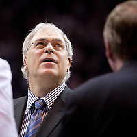 09 june 2009: Phil Jackson, coach of the Los Angeles Lakers, is seen during game 3 of the 2009 NBA Finals won 108-104 by the Orlando Magic over the Los Angeles Lakers at Amway Arena, in Orlando, Florida, USA.