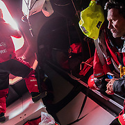 Leg 3, Cape Town to Melbourne, day 09, Rob Greenhalgh and Juan Vila on board MAPFRE. Photo by Jen Edney/Volvo Ocean Race. 19 December, 2017.