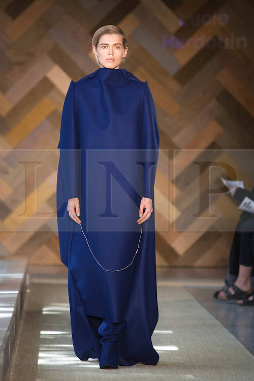 © Licensed to London News Pictures. 29/05/2014. London, England. Collection by Lucie Hardouin. 30 students of the Royal College of Art's prestigious MA Fashion programme presented their final collections in  a runway show at the RCA building in Kensington. Photo credit: Bettina Strenske/LNP