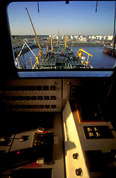 Inside of LNG Ship Looking Out at Port of Houston