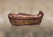 Acient Egyptian sacophagus of Kha -  inner coffin from  tomb of Kha, Theban Tomb 8 , mid-18th dynasty (1550 to 1292 BC), Turin Egyptian Museum. .<br /> <br /> If you prefer to buy from our ALAMY PHOTO LIBRARY  Collection visit : https://www.alamy.com/portfolio/paul-williams-funkystock/ancient-egyptian-art-artefacts.html  . Type -   Turin   - into the LOWER SEARCH WITHIN GALLERY box. Refine search by adding background colour, subject etc<br /> <br /> Visit our ANCIENT WORLD PHOTO COLLECTIONS for more photos to download or buy as wall art prints https://funkystock.photoshelter.com/gallery-collection/Ancient-World-Art-Antiquities-Historic-Sites-Pictures-Images-of/C00006u26yqSkDOM