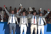"""Henley on Thames, United Kingdom, 8th July 2018, Sunday, View,  """"Fifth day"""", of the annual,  """"Henley Royal Regatta"""", Henley Reach, River Thames, Thames Valley, England, © Peter SPURRIER, Prize Giving, The Wyfold Challenge Cup - 2018<br /> Molesey Boat Club A"""
