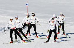 Vesna Fabjan, Katja Visnar, Eva Sever Rus, Mirjam Cossettini, Barbara Jezersek, Alenka Cebasek and Nika Razinger during Training camp of Slovenian Cross country Ski team on October 23, 2012 in Dachstein Getscher, Austria. (Photo By Vid Ponikvar / Sportida)
