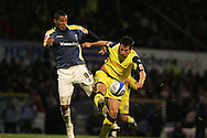 Jay Bothroyd of Cardiff City tussles with Sean St Ledger of Preston NE. Coca Cola championship, Cardiff city v Preston NE at Ninian Park on Sat 6th Dec 2008. pic by Andrew Orchard,Andrew Orchard sports photography