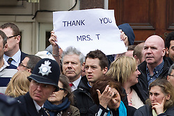 "© Licensed to London News Pictures . 17/04/2013 . London , UK . A "" Thank you Mrs. T "" banner is held in the crowd at Ludgate Circus . The funeral of former British Conservative Prime Minister , Baroness Margaret Thatcher , today (Wednesday 17th April 2013) in Central London . Baroness Thatcher died from a stroke at the age of 87 . Photo credit : Joel Goodman/LNP"