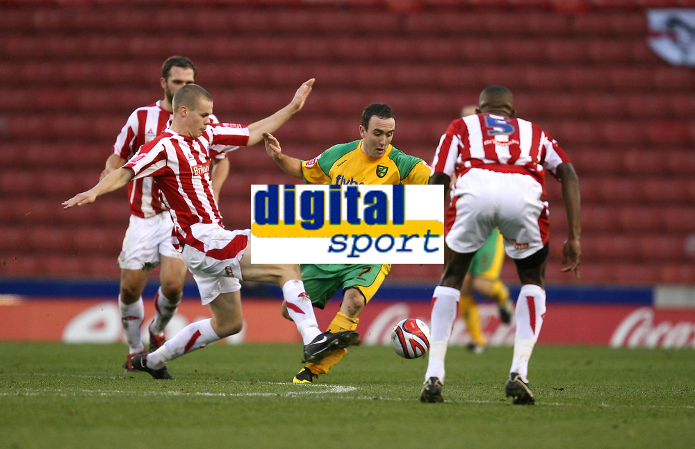 Photo: Paul Greenwood/Sportsbeat Images.<br />Stoke City v Norwich City. Coca Cola Championship. 01/12/2007.<br />Stoke's Ryan Shawcross, (L) challenges Lee Croft for the ball
