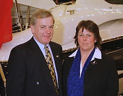 MR ROB BRAITHWAITE owner of Sunseeker and MISS CLAIR SOUTHWELL of  The Prince of Wales Charitable Foundation, at a reception in London on 14th January 1999.MNE 24