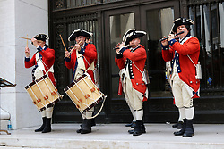 July 4, 2018 - New York City, New York, US - A Fife and Drum Corps band performs on Wall Street across from the New York Stock Exchange at the The Fourth of July celebration which is also known as Independence Day. The Fourth of July is also known as Independence Day. Independence Day commemorates the signing and adoption of the Declaration of Independence on July 4, 1776, which gave the colonies independence. New Yorkers and visitors to the city flocked to the 9/11 Memorial and Wall Street in Lower Manhattan in celebration of the 242nd. anniversary on 4th. July, 2018. (Credit Image: © G. Ronald Lopez via ZUMA Wire)