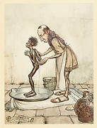 The Blackamoor from the book ' Aesop's fables ' Published in 1912 in London by Heinemann and in  New York by Page Doubleday Illustrated by Arthur Rackham,